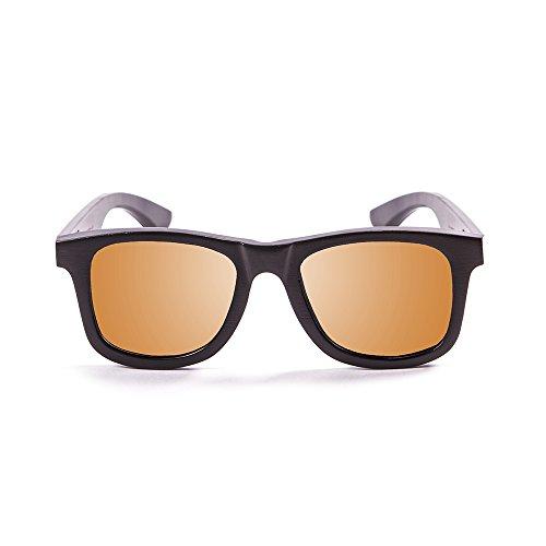 OCEAN SUNGLASSES - wood Victoria - lunettes de soleil polarisÃBlackrolles en Bambou - Monture : Noir - Verres : Revo Orange (53001.2)