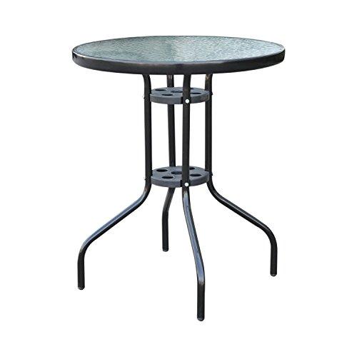 Outsunny Gartentisch Balkontisch Bistrotisch Glastisch Beistelltisch Metall+Sicherheitsglas ∅60xH70cm
