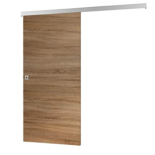 inova Holz-Schiebetür 755 x 2035 mm Wildeiche Alu Komplettset mit Lauf-Schiene und Quadratgriff -