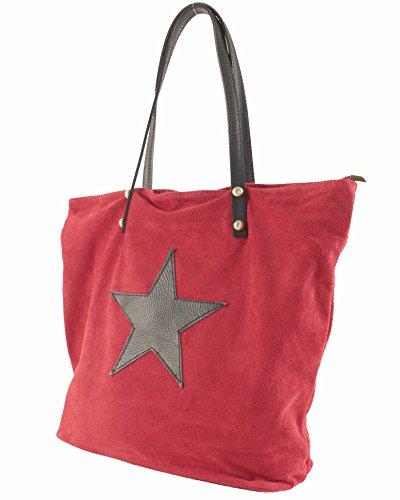 histoireDaccessoires - Borsa Pelle Donna Portata sulla Spalla - SA127023GO-Calypso Rosso-Nero