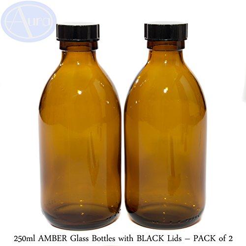 250ml botellas de cristal ámbar con negro tapas–Pack de 2