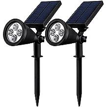 Mpow Foco Solar Impermeable Foco Solar Exterior de 4 LED 1.5W 200lm, Funciona de 16 Horas para Iluminación y Seguridad Luz de Paisaje al Aire Libre, Terraza, Jardín, Césped, Patio, Caminos, Calzada 2 Unidades