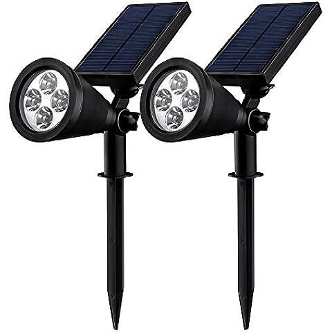 2 Unidades Mpow Foco Solar Impermeable Foco Solar Exterior de 4 LED 1.5W 200lm,Funciona de 16 Horas para Iluminación y Seguridad Luz de Paisaje al Aire Libre,Terraza,Jardín,Césped,Patio,Caminos,Calzada,Pathway