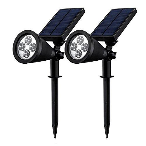 [Double Eclairage Exterieur LED] Mpow Lampe Solaire Jardin IP65 Certifié étanche 4 LED Soleil P2 Luminaire exterieur/ Spot exterieur 1.5w 200 Lumen pu...