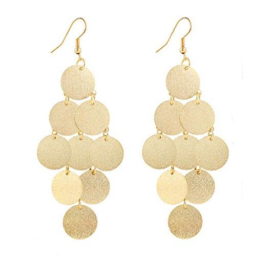 Redvive Top 1 Paar Damen-Ohrringe Legierung rund about 9.6cm*3.6cm gold