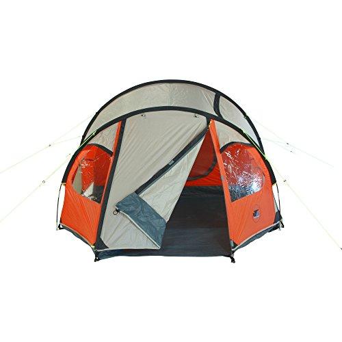 10T Mandiga 3 Orange - Tunnelzelt für 3 Personen, Campingzelt mit großer Schlafkabine, wasserdichtes Familienzelt mit 5000mm, Zelt mit 2 Eingängen und 2 Fenstern, Festivalzelt mit Dauerbelüftung, 3 Mann Zelt mit Tragetasche, Zeltheringe und Zeltgestänge - 5