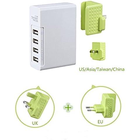 En Smart Solution 5V4A Multi Cargador de viaje USB Puerto de alimentación con enchufe de intercambiables para iPhone 6S, iPad Air 2y Más Verde