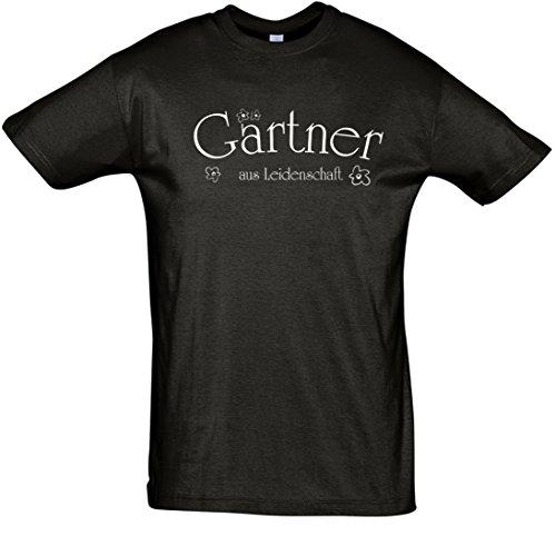 """T-Shirt Fun-T-Shirt """"Gärtner aus Leidenschaft"""" bedruckt mit Folie Schwarz"""