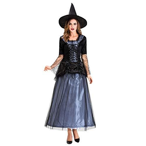 Frauen Halloween Schwarz Gaze Hexe Kleid Nacht Ghost Kostüm Kleid -