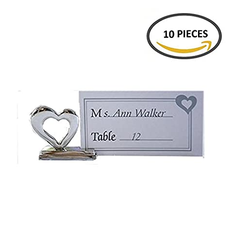 10pcs Alloy Silver Love Heart Shape place card holders