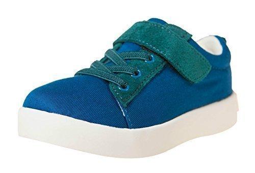 Little Blue Lamb Chaussures Basses Baskets 7120 Toile & Cuir Bleu Vert
