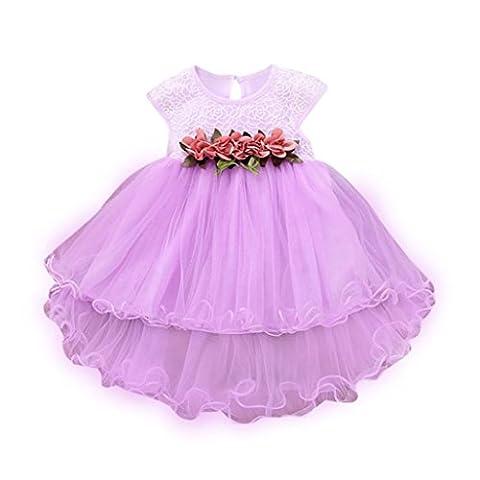 Babykleidung Kindermode SOMESUN Baby Mädchen Sommer Blumenkleid Prinzessin Party Hochzeit Tüll Kleider (9-12 Monate, lila)