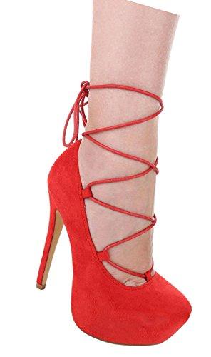 Bombas Senhoras Sapatos De Salto Alto Planalto Estilete Com Atando Bege Azul Vermelho 35 36 37 38 39