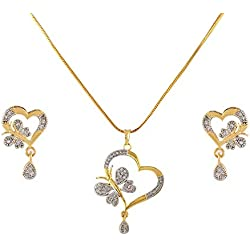 Blulune American Diamond Heart Design Made Pendant(18 INCH Chain) with Earring Set for Women and Girls(BLPN-22) (Design 2)