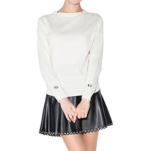 VALIN M717 Pull Tricot Femme,S-XL Blanc