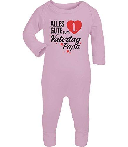 Shirtgeil Vatertagsgeschenk Alles Gute zum 1. Vatertag Papa Baby Strampler Strampelanzug 6-12 Monate (67/76) Rosa