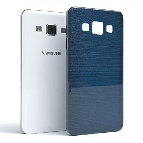Samsung Galaxy A3 (altes Modell) Hülle - EAZY CASE Ultra Slim Cover TPU Handyhülle Matt - dünne Schutzhülle aus Silikon in Transparent / Weiß Brushed Dunkelblau