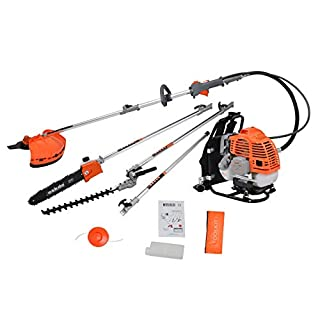 eSkde BP52-S8KIT 5 in 1 Back Pack 52cc Petrol Garden Multi Tool System with Brushcutter/Strimmer/Grass Chainsaw/Hedge Trimmer and Extension Pole, Orange and Grey