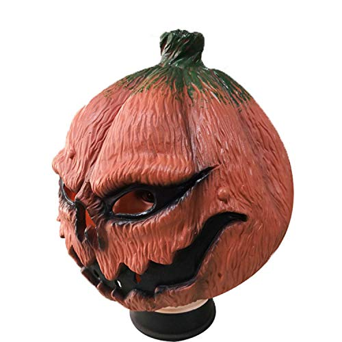 WYJSS Lustige Kürbis Kopf Maske Latex Maske Halloween Cosplay Party Geburtstag Party Karneval Horror Scary Kostüm Requisiten Lustige Geschenke,Orange-OneSize