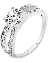 Elli Women's 925 Sterling Silver Xilion Cut White Swarovski Crystal Ring