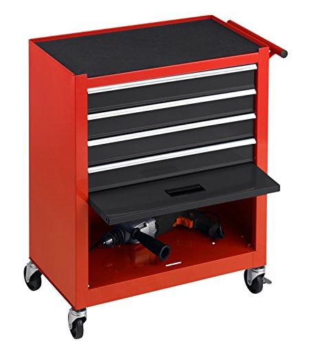 Meister Werkstattwagen M-1, ohne Werkzeug - Räder mit Feststellbremse  - 4 Schubladen & Maschinen-Ablagefach / Mobiler Werkzeugwagen leer / Rollwagen / 8986100 - 3