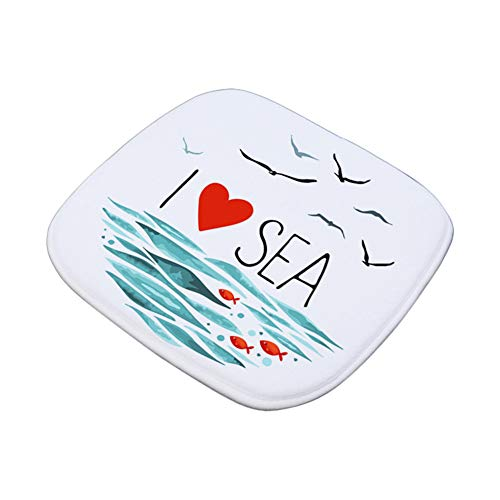 Cdet 1x Drucken Stuhlkissen Flanell Memory Foam Bürostuhl Kissen Auto Sitzkissen Portable Sitzkissen Rutschfeste Stuhl Pads Für Esszimmer Stühle Bürostühle Autositz, 16x16inch (I Love Sea) -