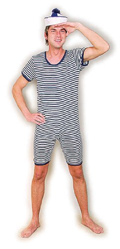 Badeanzug blau weiß geringelt Gr. L Einteiler