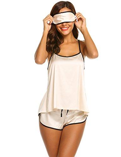 Skine Nachtwäsche Damen 3 Stück Schlafanzüge Satin Träger mit Augenmaske Dessous Sexy Split Zurück Pyjama Set mit Short Negligee Sleepwear Sets Kurz