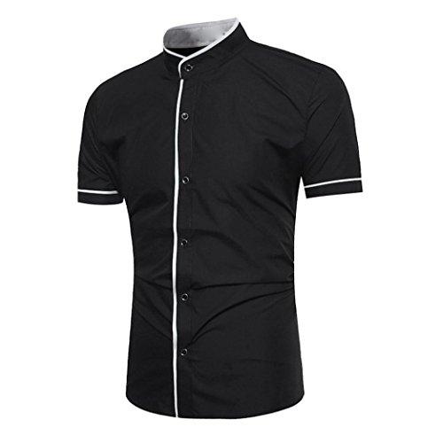 T-Shirt mit Kleinem Kragen Slim Fit Herren Poloshirt Baumwolle Tops,Schwarz,L