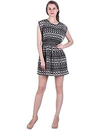 Bonhomie Women Black Print Summer Dress With Detailed Sleeves