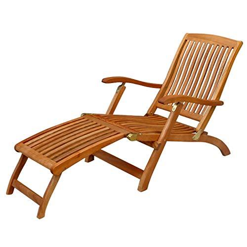 IND-70006-DC Deck Chair Sun Flair Liegestuhl Sonnenliege aus Holz ergonomisch geformt - 141 x 58 x 86 cm mit abnehmbarer Fußablage klappbar