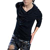Allegra K Men Cowl Neck Long Sleeves Button-tab Epaulets Hooded Tee Shirt