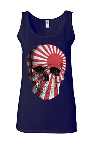 Evil Japan Risining Sun Flag Day Of The Dead Novelty White Femme Women Tricot de Corps Tank Top Vest Bleu Foncé