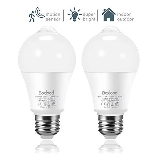 2x bombillas con sensor de movimiento, 6000K Blanco Frío, luces de seguridad...