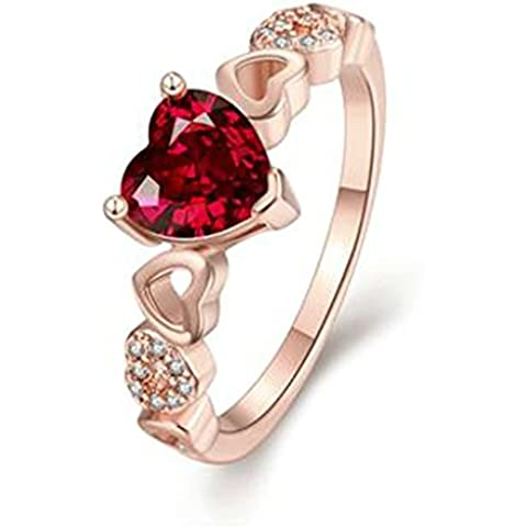 AnaZoz Anillo de Boda Para Mujer Chapado en Oro Amor Corazón Romántico Diamantes de Imitación de Cristal CZ Anillo de