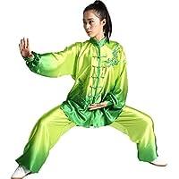 ZooBoo Tai-Chi Uniform Damen Anzug - Chinesische Kampfkunst Taiji Wushu Wing Chun Shaolin Kung Fu Training Kleidung Farbverlauf Farbübergang Lange Ärmel Set für Frauen Anfänger Trainer - Seide Atlas