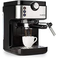 Klarstein BellaVita Espresso Machine à Expresso - 20 Bar, 1575W, Capacité : 900 ml, Elément chauffant Thermo Block, One Touch Control, Buse vapeur, Chauffe-tasses, Inox, Argent