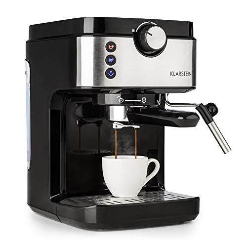 Klarstein BellaVita Espresso - Máquina de espresso , 1575 vatios , 20 bar , FullPressure , Capacidad de 900ml , One Touch Control , Boquilla de vapor móvil , Acero inoxidable , Negro/plateado