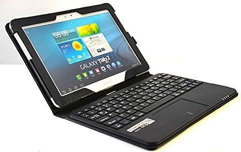 MQ - Galaxy Tab 2 10.1 und Galaxy Tab 10.1 Bluetooth Tastatur Tasche mit Multifunktions-Touchpad | Hülle mit Bluetooth Tastatur und integriertem Touchpad für Galaxy Tab 2 10.1 P5100, P5110, Galaxy Tab 10.1 P7500, P7501, P7510 | Schwarz