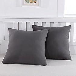 Mohap Lot de 2- Taies d'oreiller Gris 65x65cm Housse d'oreiller avec Une Fermeture Eclair en Microfibre