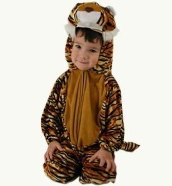 Kinderkostüm Tiger-Overall aus Velours Gr. 104 Tiger-overall