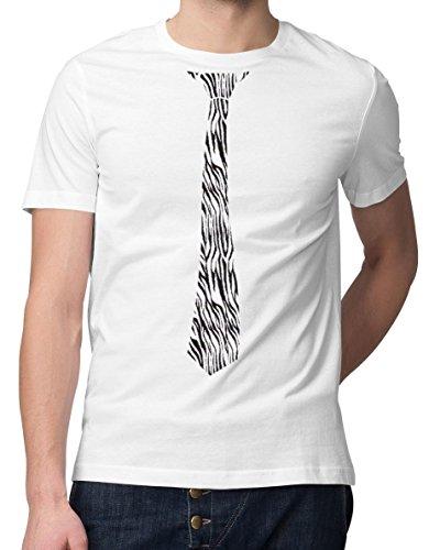 RoughTex Herren T-Shirt Bedruckt Krawatte Weiß-Zebra 4XL