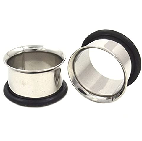 Stainless Steel 14mm Single Flared Ear Tunnel Includes Ruber O Ring by SHOKK