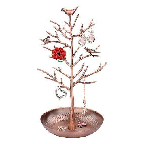 Supporto per l'esibizione di gioielli a forma di antico albero con uccelli, per orecchini, collane, bracciali, stand per appendere i gioielli, di clothin antique bronze