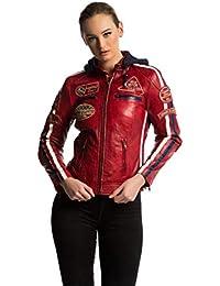Urban Leather 58 Chaqueta de Damas, Rojo Wax