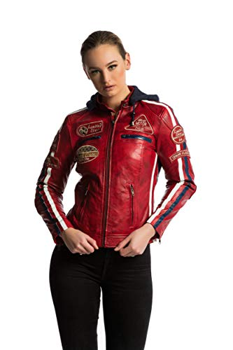 Urban Leather 58 Damen Motorradjacke mit Protektoren, Rot Wax, Große Red Wax, Größe 3XL - Damen Motorrad Jacke Leder
