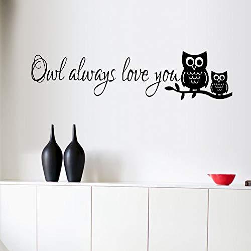 PISKLIU Wandsticker Wandfiguren Eule Immer Lieben Sie Tiere Cartoon Wandaufkleber Abnehmbare Art Vinyl Aufkleber Für Kinderzimmer Wohnzimmer Wohnkultur Aufkleber