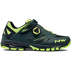 NORTHWAVE SPIDER PLUS 2 Zapatillas de bicicleta de montaña GREEN GABLE / YELLOW FLUO, Tamaño:gr. 42