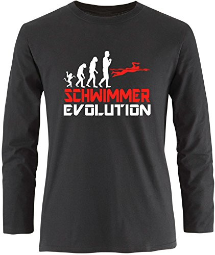 EZYshirt® Schwimmer Evolution Herren Longsleeve Schwarz/Weiss/Rot