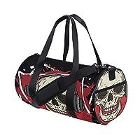 Plsdx Popular American Rock Head Skull Custom Multi Lightweight Large Yoga Gym Totes Handbag Travel Canvas Duffel Bags With Shoulder Crossbody Fitness Sports Luggage For Boys Girls Mens Womens